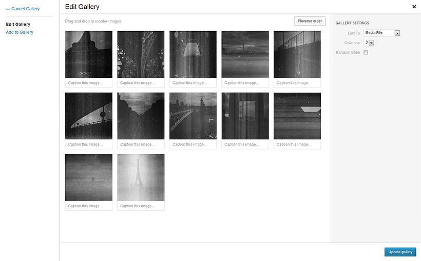 Upload and manage your galleries with an nice interface.